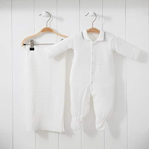 Saída De Maternidade Mami Tricot Modelo Furinho Tamanho Rn 02 Peças, Papi Textil, Off White
