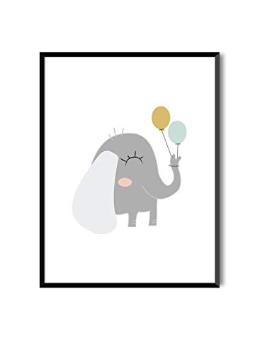 MILUKA Láminas Infantiles para enmarcar colección Sweet Pets | Elefante | Tamaño 20x30cm, 30x40cm, 50x70cm (30 x 40 cm)