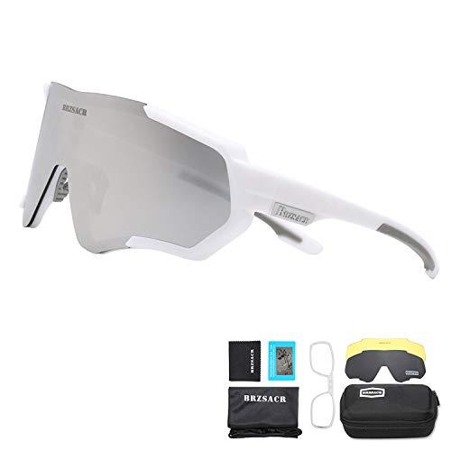 BRZSACR Gafas de Sol Deportivas polarizadas Protección UV400 Gafas de Ciclismo con 3 Lentes Intercambiables para Ciclismo, béisbol, Pesca, esquí, Funcionamiento (Gris blanco)