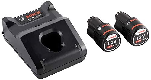 Bosch Professional GAL 12V-40 + GBA 12V - Cargador rápido + batería de litio (2 baterías x 2.0 Ah, 10,8V / 12V)