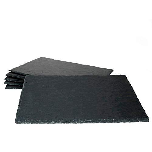 MamboCat 6er-Set Schieferplatte 20x30cm I Rustikaler Stein-Teller aus Schiefer - mit naturbelassener Bruchkante I ideal als Sushi-Platte & Servier-Teller I 6 Stück Servier-Platte Schwarz 20 x 30 cm