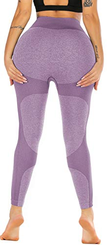 RUNNING GIRL Women Butt Lift Seamless Yoga Leggings High Waisted Tummy Control Workout Leggings Compression Skinny Tights (2334 Mauve Purple, M)