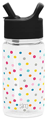 Simple Modern 16oz Summit Kids Tritan Water Bottle with Straw Lid for Toddler - Dishwasher Safe Travel Tumbler - Polka Play