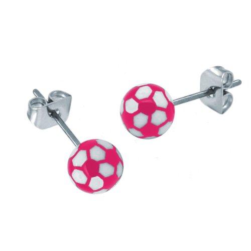 2 pendientes en diseño de pelota de fútbol, color rosa, negro y blanco, color: rosa
