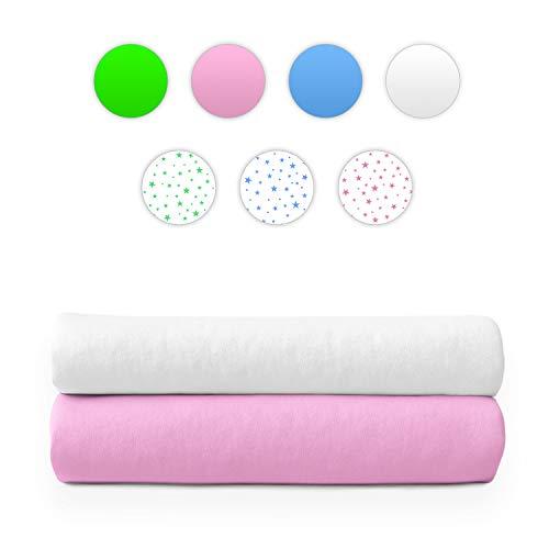 Moltontücher | Baumwolltücher | Spucktücher - 2er Pack | 80x80 cm - 1 Weiß 1 Rosa | Schadstoffgeprüft - Öko-Tex Standard 100 | Baby Spucktücher | Flanelltücher | Mulltücher