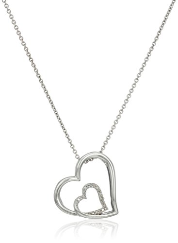 Jewelili Sterling Silver Natural White Diamond Accent Tilted Double Heart Pendant Necklace, 18