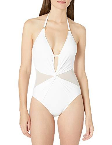 La Blanca Women's V-Front Keyhole Halter One Piece Swimsuit, White//Mesh-Merizing, 10