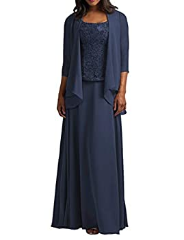 Mother of The Bride Dresses with Jacket Long Formal Evening Gowns Chiffon Plus Size Lace Prom Dress for Party Navy Blue US 28W