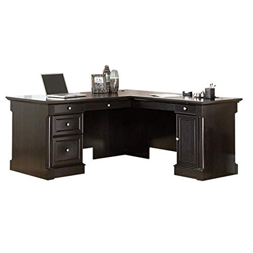 BOWERY HILL L-Shape Home Office Executive Desk with Large Drawers, Letter Size Hanging File Drawer and CPU Tower in Wind Oak Finish