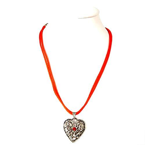 Schuhmacher Trachtenkette Halskette mit 2 orangefarbenen Satinbändern Anhänger Herz mit Edelweiss und Swarovski-Stein
