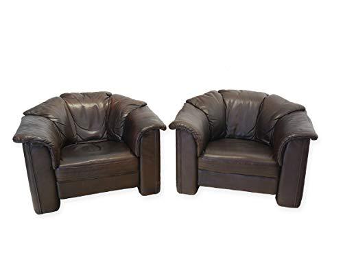 Antike Fundgrube Sessel Ledersessel Loungesessel 2-er Set bequem dunkelbraunes Echtleder (8662)