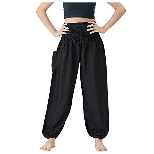 Julhold Harem Pantaloni da donna sciolti Yoga Pantaloni smocked in vita con risvolto, pantaloni larghi con tasche, abbigliamento estivo lounge, boho, pigiama, Nero-01, XL lungo