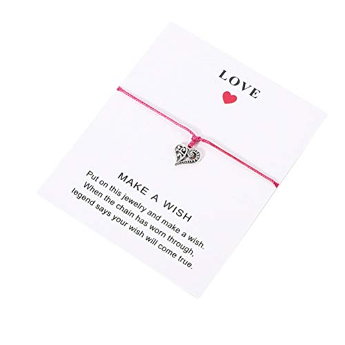 JIFNCR Wish Blessing - Pulsera con colgante de corazón, hecha a mano, ajustable, pulsera tejida, pulsera de amistad, cordón con tarjeta de regalo para mujeres y hombres, color rojo rosa