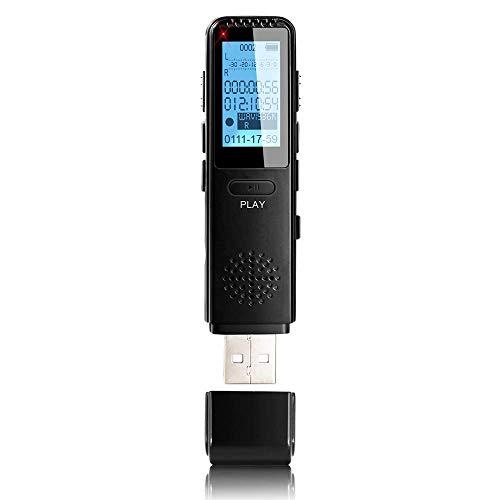 MAOZUA Voice Recorder, verbesserte 1536 Kbit/s, 8 GB HD-Aufnahme, MP3-Player, 8 GB Diktiergerät, Sprachaktivierung, mit Metallgehäuse für Vorträge, Meetings und Interview