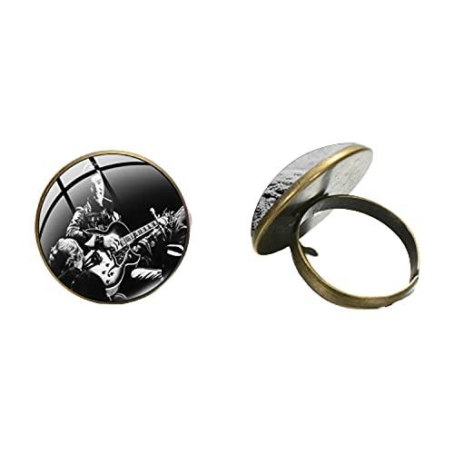 Clásicamente el rey de la roca anillo abierto bronce antiguo color plata cabujón cristal superficie arte imagen mano artesanía joyería