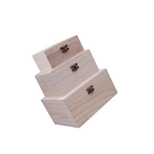 WINOMO 3Pcs Unfinished Holz Schatz Brust Dekorative Holz Box mit Verriegelung Verschluss für Handwerk Kunst Hobby Projekte Schmuck Box Und Home Storage Fall