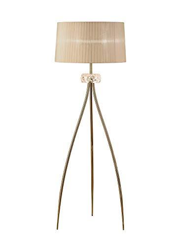 Inspired Mantra - Loewe - Lámpara de pie 3 luces E27, latón antiguo con pantalla de bronce suave
