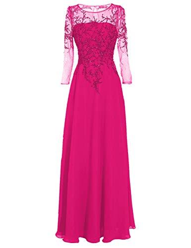 Damen Abendkleid Chiffon Lang Brautmutterkleider Vintage Ballkleid A-Linie Langarm Festkleid Hochzeitskleid Fuchsie 48