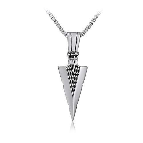 Hongyantech Retro Stil Anhänger Halskette Herren mit Halskette Edelstahl Silber 60 cm Kette Männer Anhänger Halsketten für Herren