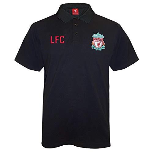 FC Liverpool Herren Polo-Shirt mit originalem Fußball-Wappen - Schwarz - L