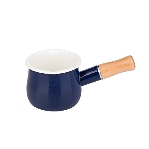 CHENMAO 4-Pulgadas de Esmalte Leche Olla Antiadherente Mini cazo la Mantequilla cálido con Mango de Madera Pequeños Utensilios de Cocina 17oz (Color : Blue)