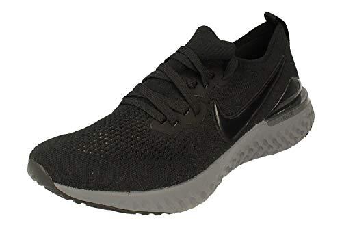 Nike Epic React Flyknit 2 Hombre Running Trainers BQ8928 Sneakers Zapatos (UK 9.5 US 10.5 EU 44.5, Black White Gunsmoke 001)