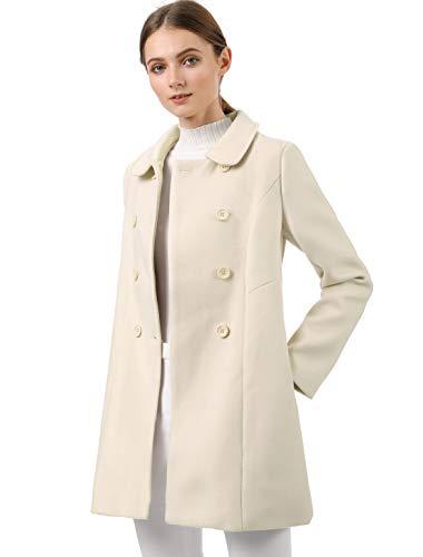Allegra K Women's Peter Pan Collar Double Breasted Trench Coat Small Beige