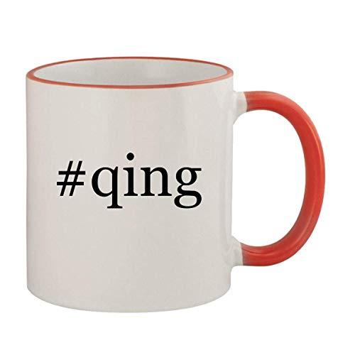 #qing - 11oz Ceramic Colored Rim & Handle Coffee Mug, Red
