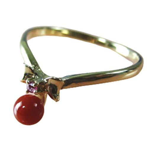 血赤珊瑚 指輪 (のし等ギフト対応無料 ) ぷちルビー付18金イエローゴールドのリング 4mmの血赤サンゴ 無染色さんご 12号 18k