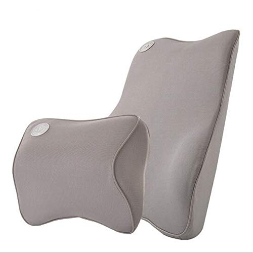 Ecloud Shop® Cojín de Soporte Lumbar para el Coche y el reposacabezas Kit de Almohada para el Cuello - Diseño ergonómico Ajuste Universal Asiento de automóvil Principal - Gris
