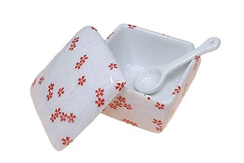 桜渦 薬味入 日本製 陶器 スプーン付き 一味 塩 山椒 七味 うどん そば 豆板醤 辛子 業務用食器 ACSWEBSHOPオリジナル 桜 さくら
