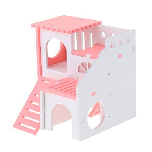 perfk Kleintierhaus Nagerhaus Holzhaus Holzhütte für Hamster, Ratten, Mäuse, Meerschweinchen, Frettchen, Chinchilla, Eichhörnchen, usw. - Rosa