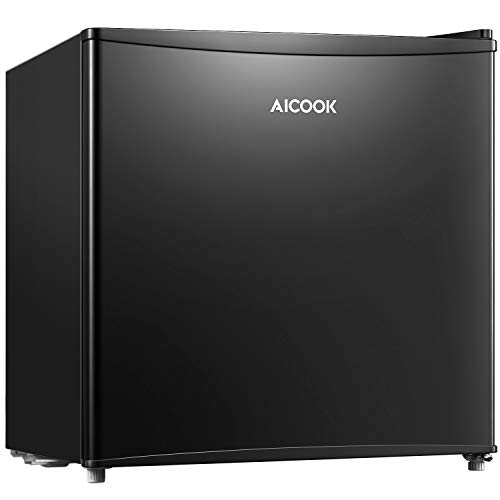 Mini Fridge 1.6 Cu.Ft Small Fridge with Freezer, AICOOK Energy Star Compact Refrigerator with Single Reversible Door, Adjustable Thermostat Control, Super Quiet for Bedroom, Dorm, Office, Apartment