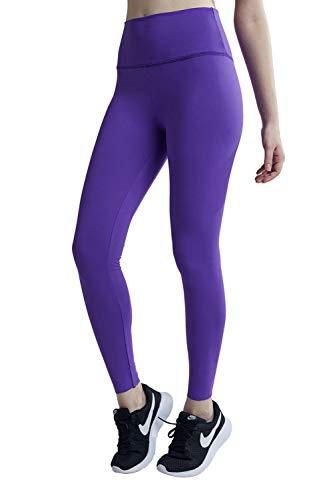 Wirezoll Sport Leggings Damen, High Waist Blickdichte Yogahose mit Tasche aus Baumwolle für Yoga, Gym, Laufen, Lila, L