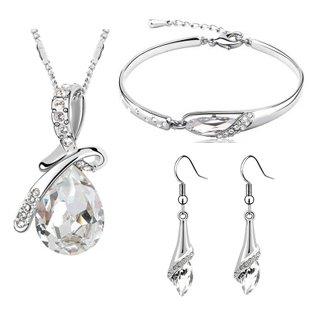 veuer joyas para mujer collar cadena pendientes set pulsera maduro bañada Cristal...