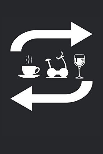 Repetición del vino del entrenamiento del café: Cuaderno rayado, cuaderno, diario, ToDo, cuaderno de ejercicios, libro de cuentos (15. 24 x 22. 86 cm; ... los amantes del fitness, el deporte y el café