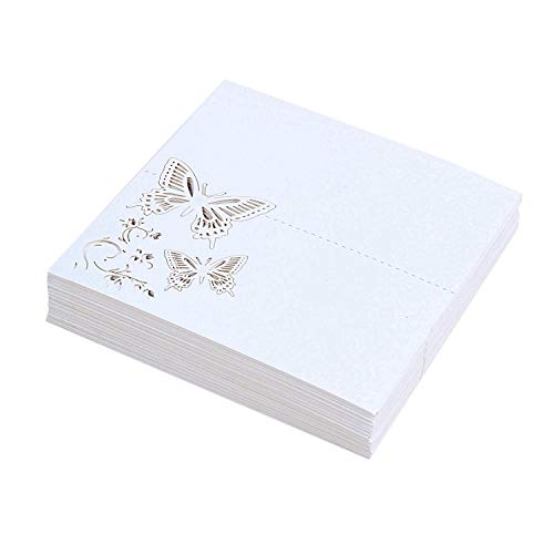 Vaorwne 60x Schmetterling Blume Platz Tisch Nummern G?steliege Namens Karten FüR Hochzeit Party Dekoration (Wei?)
