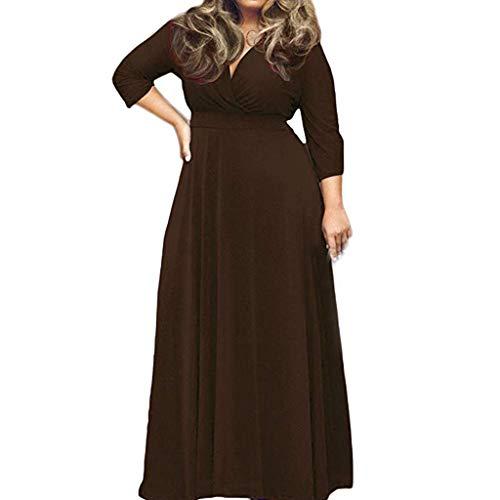 WFRAU Kleid für Frauen,Damen Übergröße Dreiviertel-Ärmel Einfarbig V-Ausschnitt Bohemien Lange Elegant Kleid Maxikleid,Damen Party Kleid Abendkleid Strandkleidung Strand Kleider