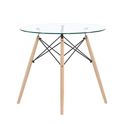 EGGREE Tavolo da Pranzo Rotondo Vetro Moderno Tavolo da Cucina in Legno Scandinavo, 80 x 72 cm