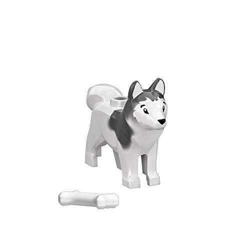 LEGO Animal Minifigure Husky Arctic Sled Dog with Bone (Aprox. 1inch Size) by LEGO