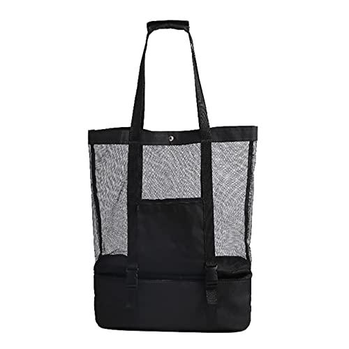 Bolso de playa de malla grande, bolso de picnic de 2 en-1 de 1 en 1 de la bolsa de picnic, bolso de hombro de picnic familiar, bolsa de almacenamiento desmontable para viajes de playa Caminando