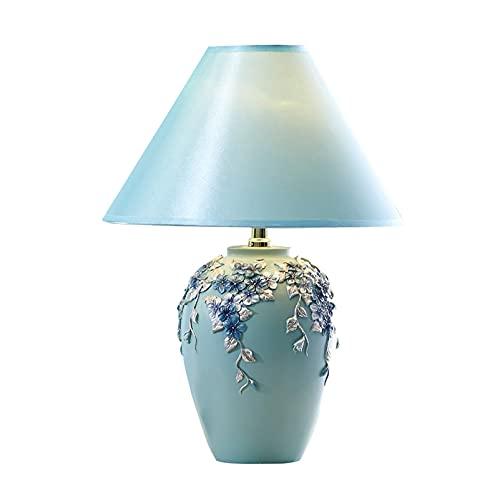 Lámpara de mesa Lámpara moderna de la mesa de la simplicidad con la lámpara de la mesa de la mesita de noche de la banda de flor de la flor de la sombra del tambor azul para el restaurante del café de