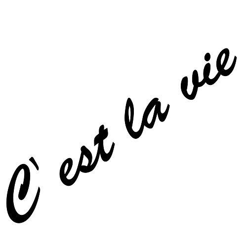 GreenIT 20cm C est la Vie Schriftzug Aufkleber Tattoo Deko Folie Wandtattoo für Auto Wand Tür Fenster (schwarz)
