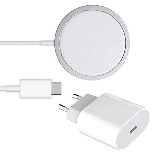 iGuard Set Wireless Charger + USB-C Ladegerät, 15W Fast kabellose für alle Qi Geräte Kompatibel mit iPhone MagSafe 12/11 Pro Max/XS MAX/XR/XS/X/ 8/8+ AirPods