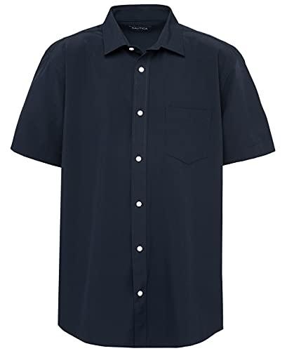 Nautica Camisa Oxford de Manga Corta para Hombre con Botones, Azul Marino/Flor y Brillo, Medium