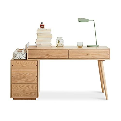 Mesa de Ordenador Onetor retráctil de la oficina en casa ORDENADOR PERSONAL Estación de trabajo de escritorio de portátil con estantería y 5 cajones Moderna Simple Study Room Table Escritorio de Orden