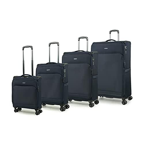Rock Georgia, valigia leggera espandibile con 8 ruote, con protezioni angolari Blu Marina Militare Set di 4