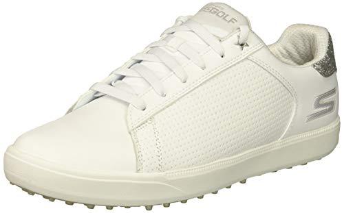 Skechers Damen Spikeless Waterproof Golf Shoe Drive 4, Golfschuhe ohne Spikes, wasserdicht, weiß/Silber, 36 EU