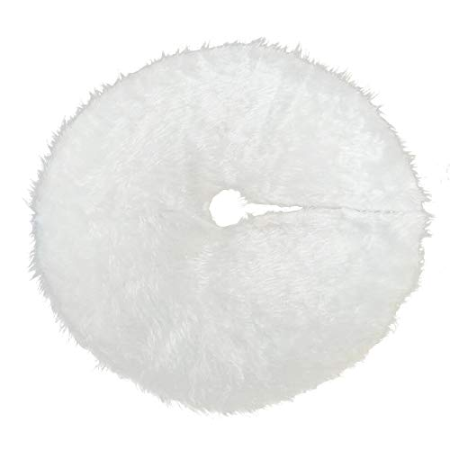 NZYH White Plush Christmas Tree Skirt 78Cm90cm 122Cm Christmas Tree Decoration Christmas Party Decoration Floor Cushion Cover Ornament Decoration F -90cm