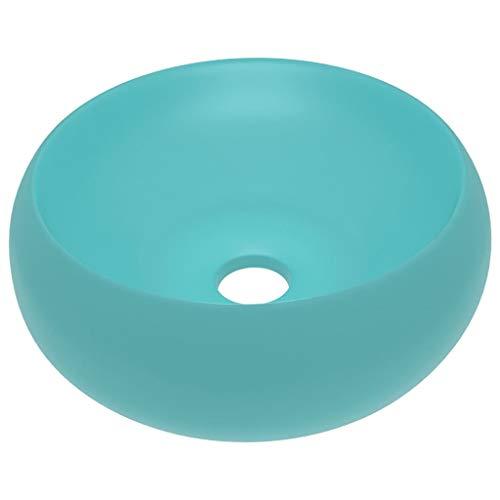 vidaXL Luxus Waschbecken mit Abflussloch Waschschale Aufsatzwaschbecken Waschtisch Waschplatz Handwaschbecken Rund Matt Hellgrün 40x15cm Keramik